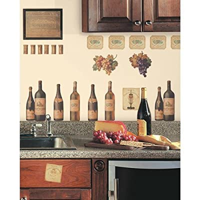 York Wallcoverings RMK1257SCS RoomMates Wine Tasting Peel & Stick Wall Decals,