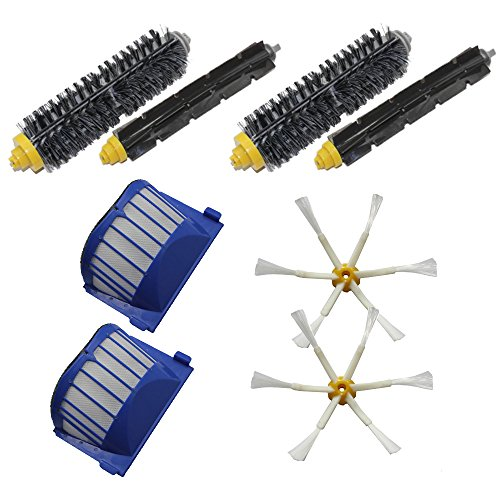 Shp-Zone 2 Aero Vac Filters & 2 6-Armed Side Brushes & 2 Bristle Brushes & 2 Flexible Beater Brushes Pack Replenishment Mega Kit For Irobot Roomba 600 Series (620 630 650 660 680) Vacuum Cleaning Robots front-580836