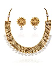 Accessher Rajwadi Styled Royal Copper Bold Moti Antique Necklace