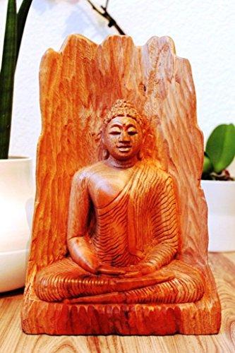 holz buddha skulptur handgeschnitzt statue figur skulptur regenbogenholz 33 cm. Black Bedroom Furniture Sets. Home Design Ideas