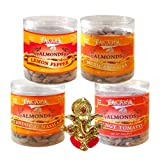 Chocholik Dry Fruits - Almonds Lemon Pepper, Tandoori Masala, Tangy Tomato & Mexican Salsa With Ganesha Idol -...