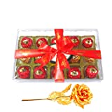Valentine Chocholik Premium Gifts - Enchanting Wrapped Choco Treat With 24k Gold Plated Rose