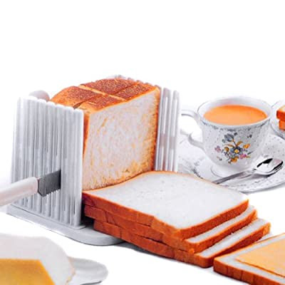 Ellen Kitchen Tool Bread Loaf Slicer Slicing Cutter Cutting Cuts Even Slices Guide Tool, White