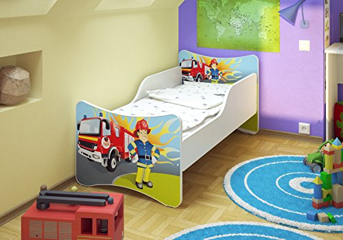 Best For Kids LIT POUR ENFANT 70x140 FIRE DEFENSE + Matelas + à lattes + Wall Stickers
