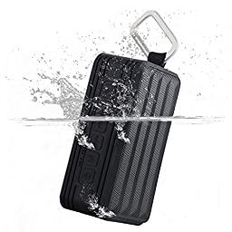 Youmoon Portable Wireless Bluetooth Speaker , Bluetooth CSR 4.0 Outdoor and Shower IP56 Waterproof, 1800 mah Rechargeable Battery 10 Playing Hours, SD/TF Card Play, Black