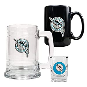 Florida Marlins MLB 15oz Tankard, 15oz Ceramic Mug & 2oz Shot Glass Set - Primary... by Great American Products