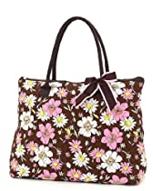 Belvah Extra Large Quilted Floral Print Tote Handbag- Choice of Colors (Brown/Pink)
