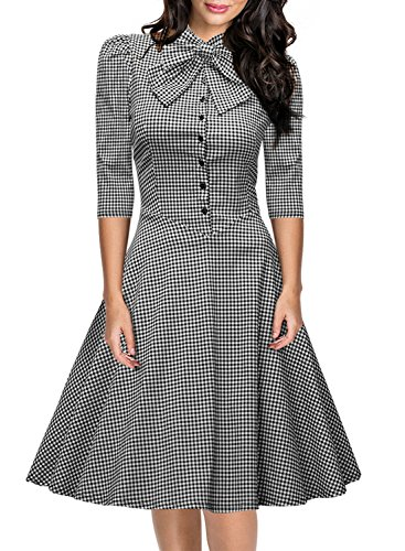 Miusol Women's Official Bow Neck Plaid Slim Half Sleeve Vintage Dress,Gray,Medium