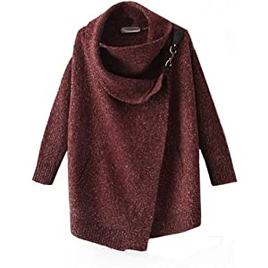 Sheinside Women Lapel Long Sleeve Ouch Cardigan Sweater Coat Jacket (M, Red)