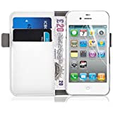 iPhone 4 Case - Luxury Edition White Leather Wallet Cover for iPhone 4 4s