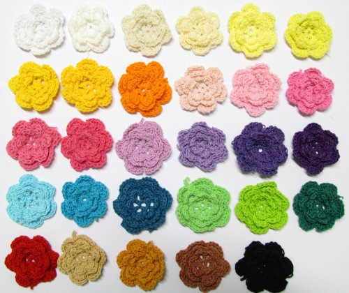 "25pc Rainbow Collection 1.5"" Assorted Crocheted Flowers Appliques"