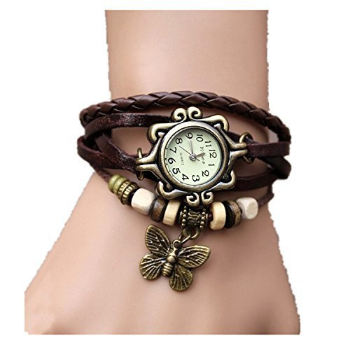Viskey Original Women Vintage Watches,Bracelet Wristwatches Butterfly Pendant, Coffee
