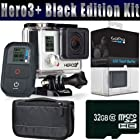 GoPro HERO3+ HERO 3 PLUS Black Edition + GoPro LCD Touch BacPac + 32GB MicroSDHC Memory Card + Carrying Case Bundle Kit
