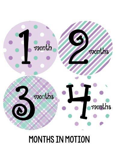 Months in Motion 001 Monthly Baby Stickers - Baby Girl - Months 1-12 - Milestone Sticker in Lavender