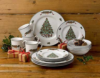 Johnson Brothers 16-Piece Victorian Christmas Dinner Set, Multicolored