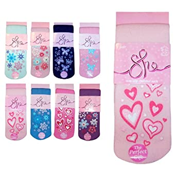 Ladies & Girls Super Soft Non-Slip Thermal Winter Bed Socks (Baby Pink Hearts)