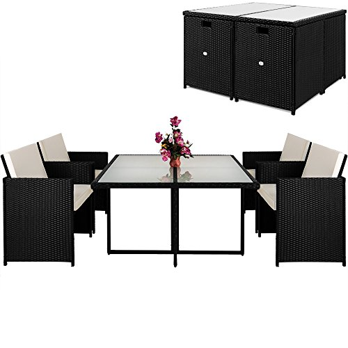 Poly-Rattan-13-tlg-Sitzgruppe-Sitzgarnitur-Gartenmbel-Lounge-Rattan-Gartenset-Cube
