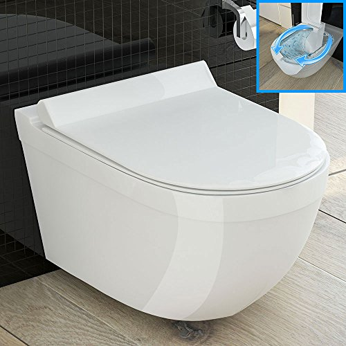 design h nge wand wc rimless sp lrandlos toilette mit duroplast wc sitz keramik wand wc. Black Bedroom Furniture Sets. Home Design Ideas