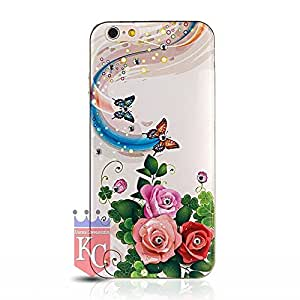 iPhone 6 Plus & iPhone 6s Plus Back Cover - Soft Transparent Printed Beautiful Butterflies and Flowers with Crystal Diamond Back Case for iPhone 6 Plus & iPhone 6s Plus