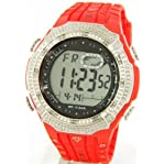 Mens King Master Diamond Case & Red Band Digital G Diamond Shock Watch #KM-519