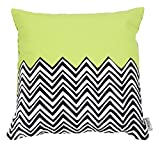 Folkloric Cotton, Chevron, Reversible, Decorative, Pillow or Cushion Cover ,16x16 inches, Lime Green