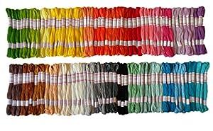 Premium-Seidengarn in Regenbogen Farben für Stickerei -Kreuz-Stich-Themen - Freundschaftsbänder - Seidenhandwerk - 105 Stränge pro Packung und kostenloses Set Qualitäts-Sticknadeln