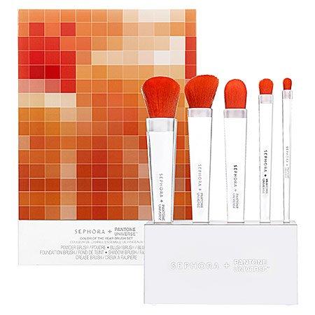 SEPHORA+PANTONE UNIVERSE Tangerine Tango Brush Set Stand 6 x 1.25 x 3; Brushes with stand: 6 x 1.25 x 9