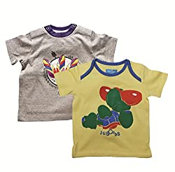 Juscubs Printed t-shirts combo- yellow cool turtle & gray melange feathers artworks