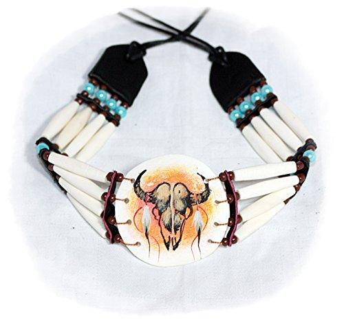 Native American Buffalo Skull Teschio di bufalo clavicola collana girocollo per tubi perline 32/60cm per Photo Shoot