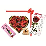 Skylofts 9pc Romantic Chocolate Heart Box With Cute Teddy, A Love Card & A Love Key Ring