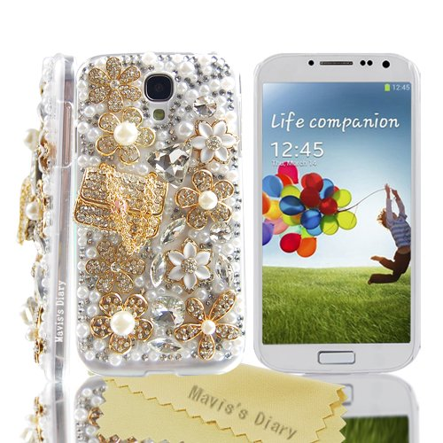 Mavis's Diary Luxury 3D Handmade Crystal Bag Flower Rhinestone Pearl Case Clear Cover for Samsung Galaxy S4 S Iv SIV S 4 Iv Gt-i9500 9509 M919 with Soft Clean Cloth