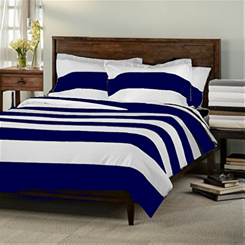 Marrikas 600Tc Queen Stripe Navy With White Duvet Cover Set front-972080