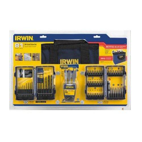 Irwin 81 Piece Premium Drill Bit Accessory Tool Kit with Bonus Carry Bag