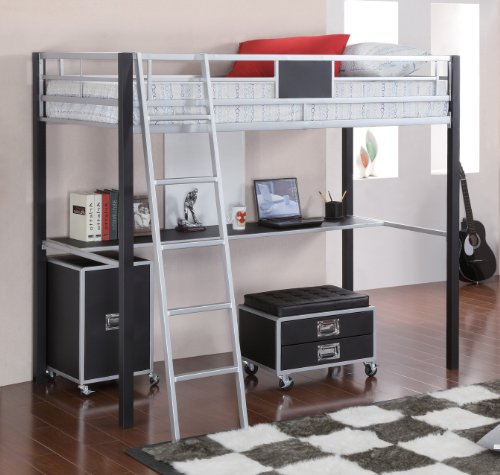 Coaster Home Furnishings Contemporary Bunk Bed, Black And Silver front-807177