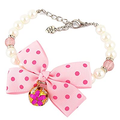 Metal Bell Decor Pink Bowknot White Beads Necklace Chain for Pet Dog