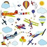 Airplanes Nursery Peel & Stick Wall Art Sticker Decals