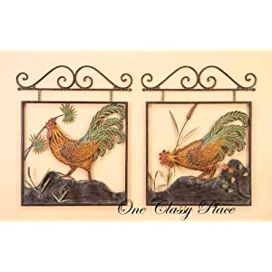 rooster metal wall decor 2 pcs set. Black Bedroom Furniture Sets. Home Design Ideas