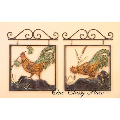 Rooster metal wall decor 2 pcs set - Rooster wall decor kitchen ...