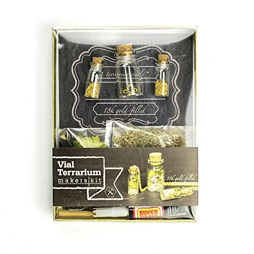 Makerskit Vial Necklaces and Mini Terrarium Kit with 18k Gold-filled Chain