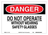 """Brady 115948 10"""" Width x 7"""" Height B-586 Paper, Red And Black On White Color Sustainable Safety Sign, Legend """"Danger Do Not Operate Without Wearing Safety Glasses"""""""