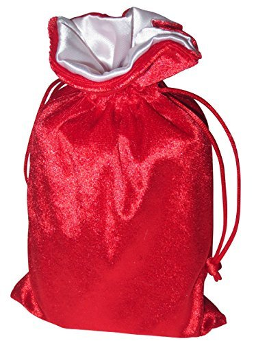 "5""x8"" Red Velvet Dice Bag with White Satin Lining"