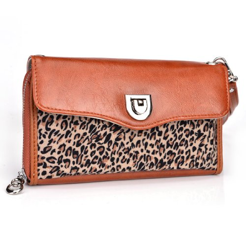 Women's Smartphone Clutch fits Nokia 207 (Bar phone) | Includes Removable Shoulder Strap (Sienna Brown/ Classic Leopard Print) +NextDia Velcro Tie coupon codes 2016