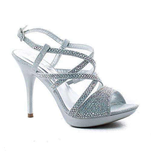Sparkling Rhinestone Studded Criss Cross Strappy Stiletto Heels
