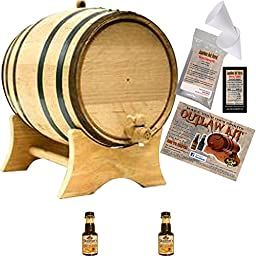 Outlaw Kit From American Oak Barrel - Make Your Own Spiced Rum (Natural Oak With Black Hoops, 1 Liter)
