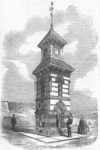 Northumbs: Clock-Tower, Drinking-Fountain, Tynemouth, Antique Print, 1861