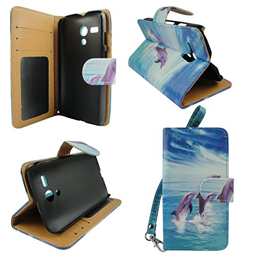 Dancing Dolphins Motorola Moto G LTE Android Smartphone (By At&t / Boost Mobile / Cricket / T-mobile / Verizon / Us Cellular / AIO Wireless) Pu Book Leather Wallet Credit Card Flip Open Pocket Phone Case Cover Pouch Accessory Protector (Phone Cases Moto G Boost Mobile compare prices)