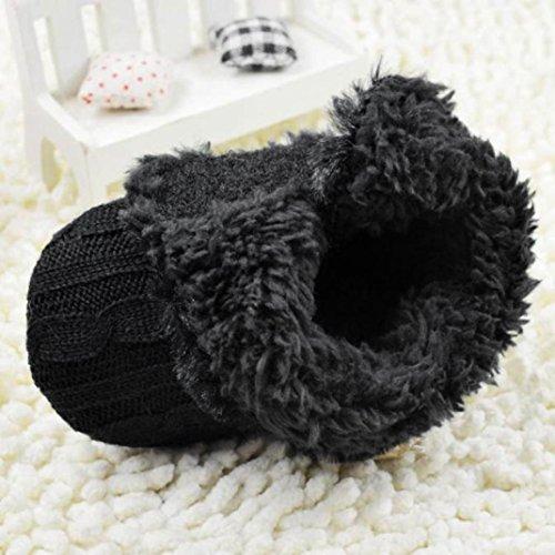 Voberry® Baby Premium Soft Sole Anti-slip Warm Winter Infant Prewalker Toddler Button Snow Boots (12- 18months(13CM), Black)