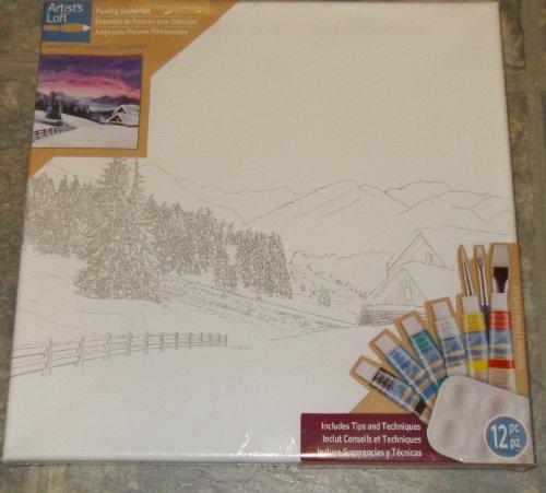 Artist's Loft Painting Starter Set ( Winter Mountain Scene)
