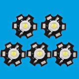 Led World 10 PCS 3W White High Power LED Light Emitter 6000-6500K with 20mm Star Base