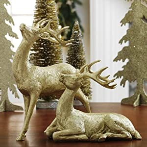 Raz Imports Glittered Deer Figurines, Set of 2